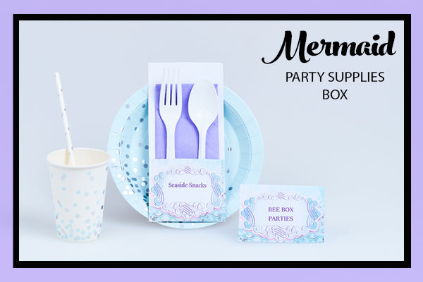 Mermaid Party Supplies Ideas Cups Plates Straws Food Tents Bee Box Parties