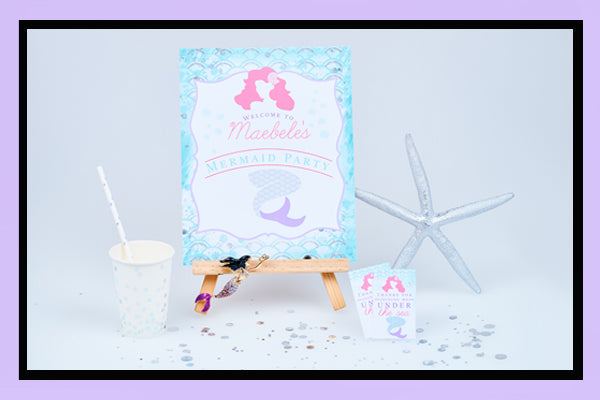 Mermaid Party Supplies Ideas Welcome Sign Cups Bee Box Parties