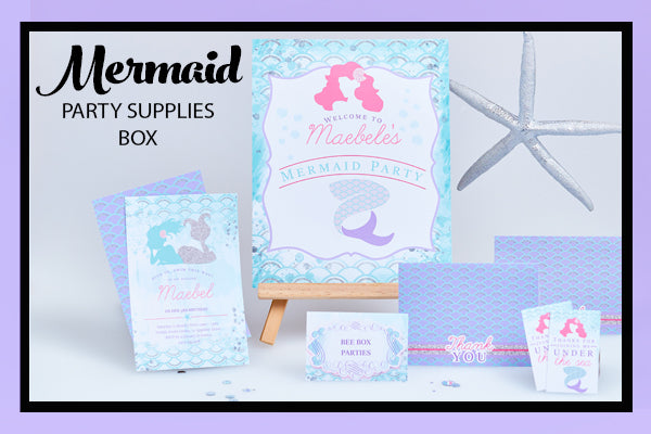Mermaid Party Supplies Ideas Invitation and Printables Bee Box Parties