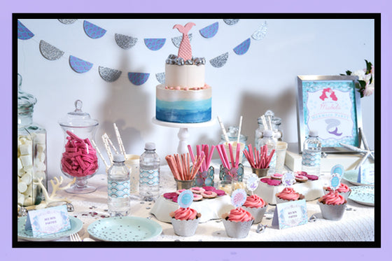 Mermaid Party Supplies Ideas Set Up Bee Box Parties