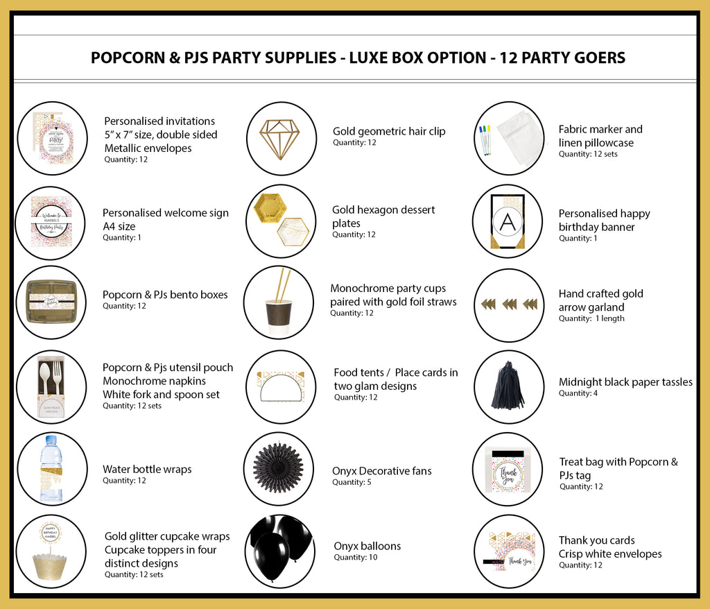 Popcorn Pyjama Sleepover Party Luxe Box Option 12 Party Goers