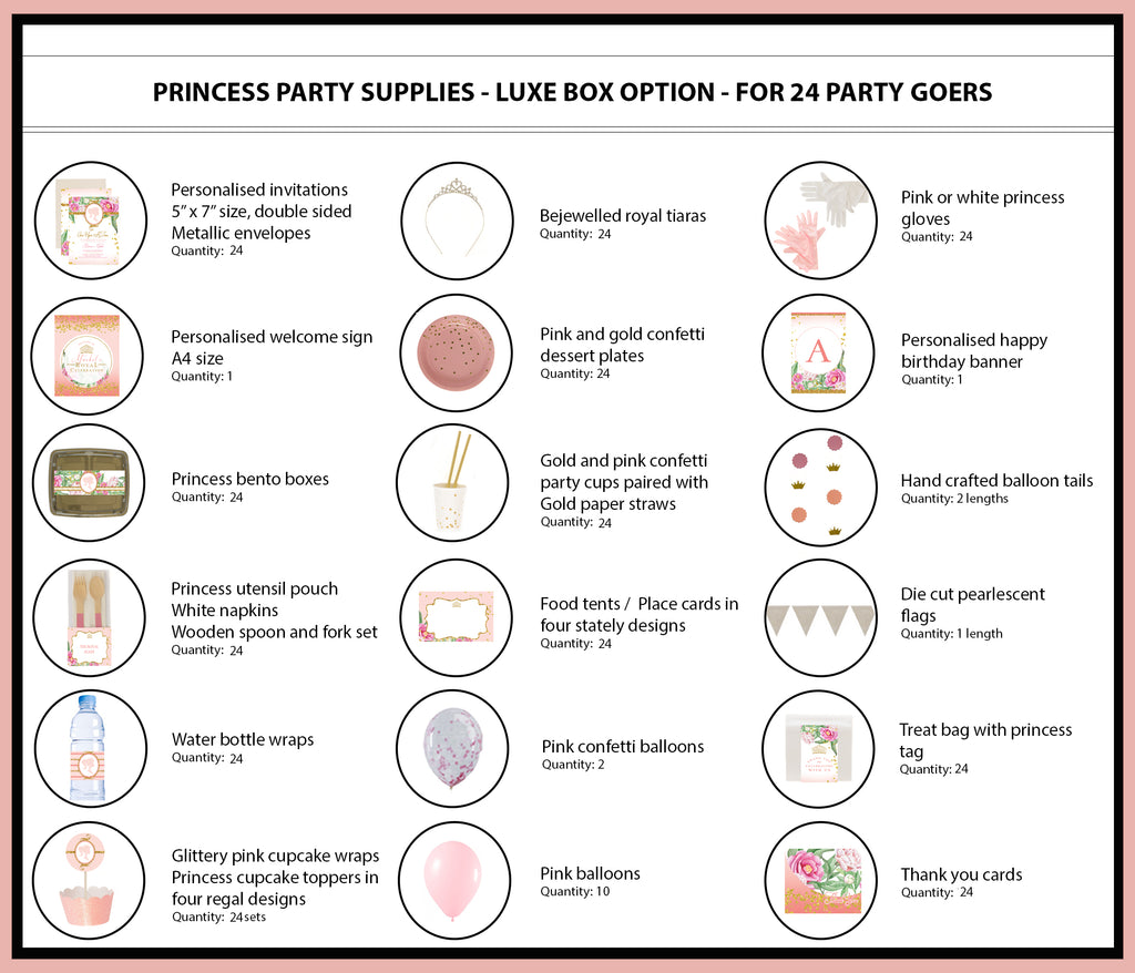 Princess Party Supplies Ideas Luxe Box Products 24 Bee Box Parties