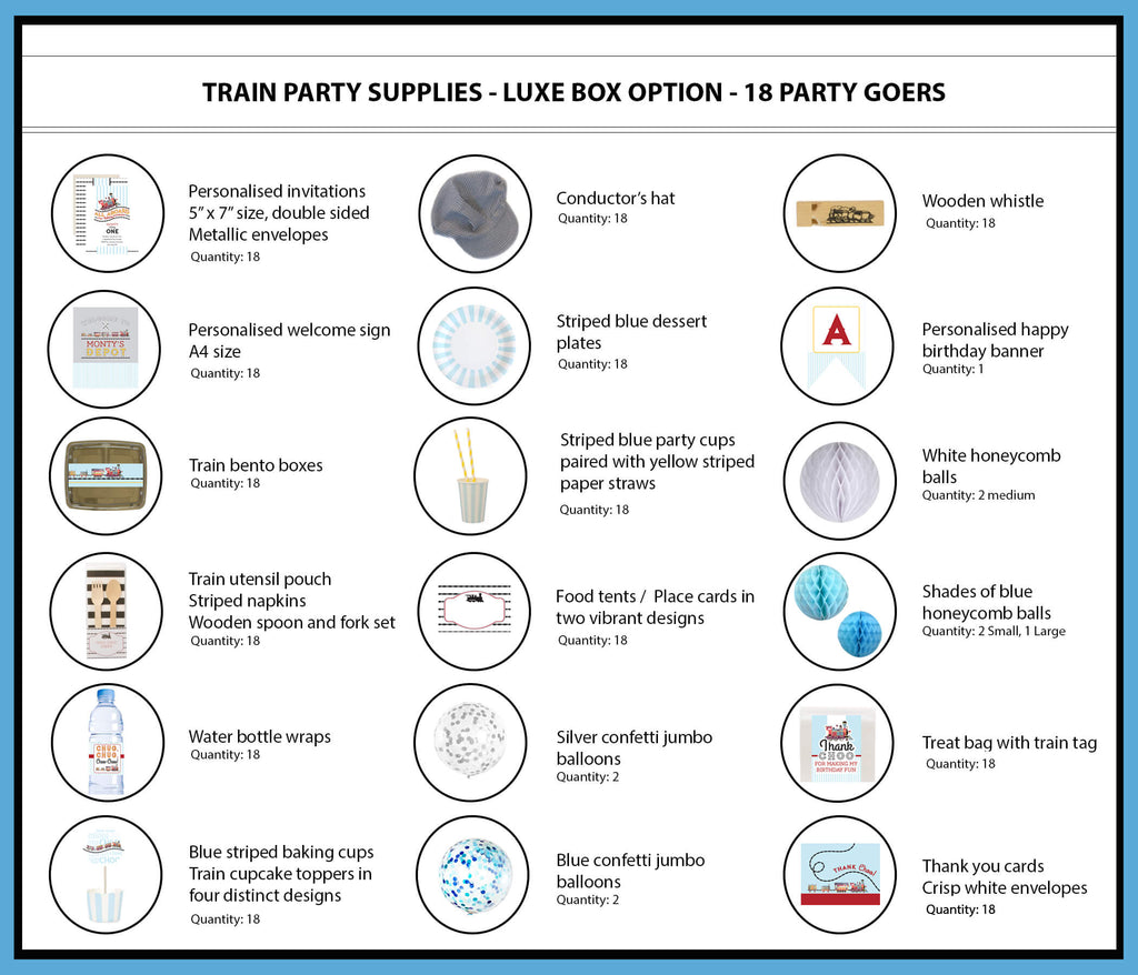 Train Party Supplies & Ideas Luxe Box Option 18 Party Goers