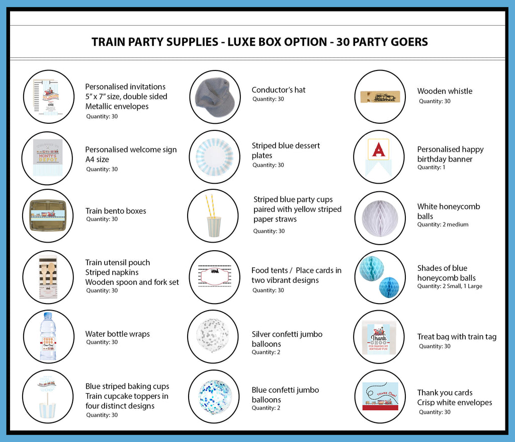 Train Party Supplies & Ideas Luxe Box Option 30 Party Goers