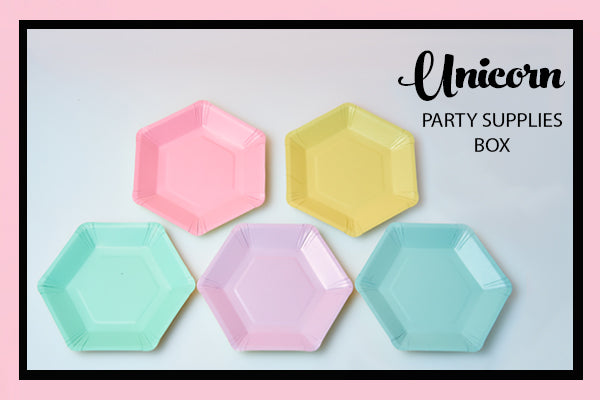Unicorn Party Supplies and Ideas Rainbow Hexagon Plates Bee Box Parties