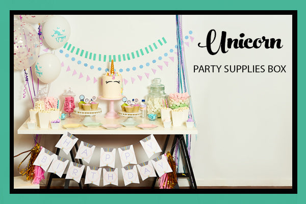 Unicorn Party Supplies and Ideas Luxe Box Dessert Table Set Up