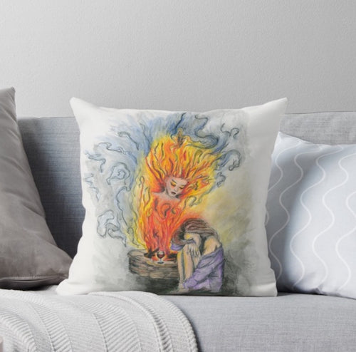 She is Fire goddess Throw Pillow - Nora Catherine