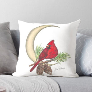 Cardinal Moon throw pillow - Nora Catherine