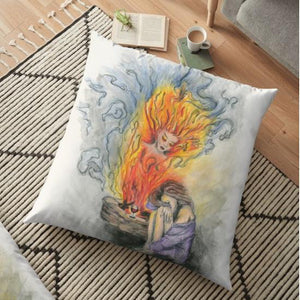 She Is Fire floor pillow - Nora Catherine