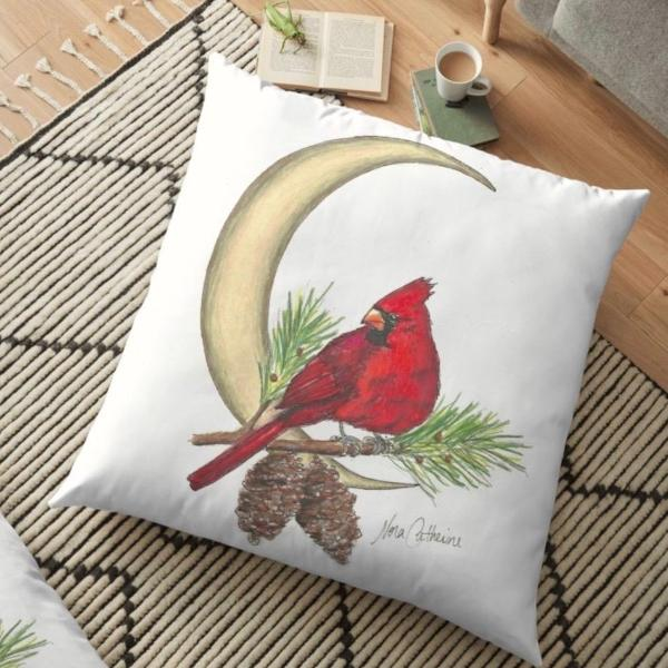 Cardinal Moon floor pillow