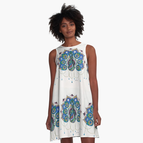 A-line Art Dress Peacock Mandala Multi Print - Nora Catherine