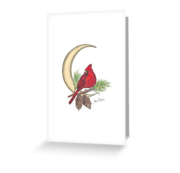 Crescent moon Cardinal on a branch - Greeting Cards and Post Card - Nora Catherine