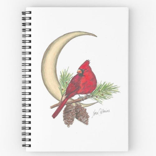 Cardinal Crescent Moon Spiral Notebook - Nora Catherine