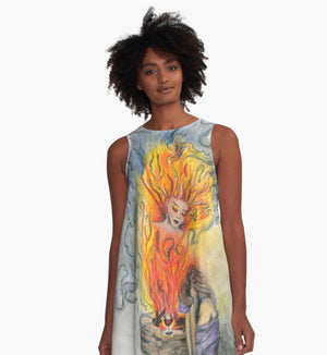 She Is Fire A-line art dress - Nora Catherine