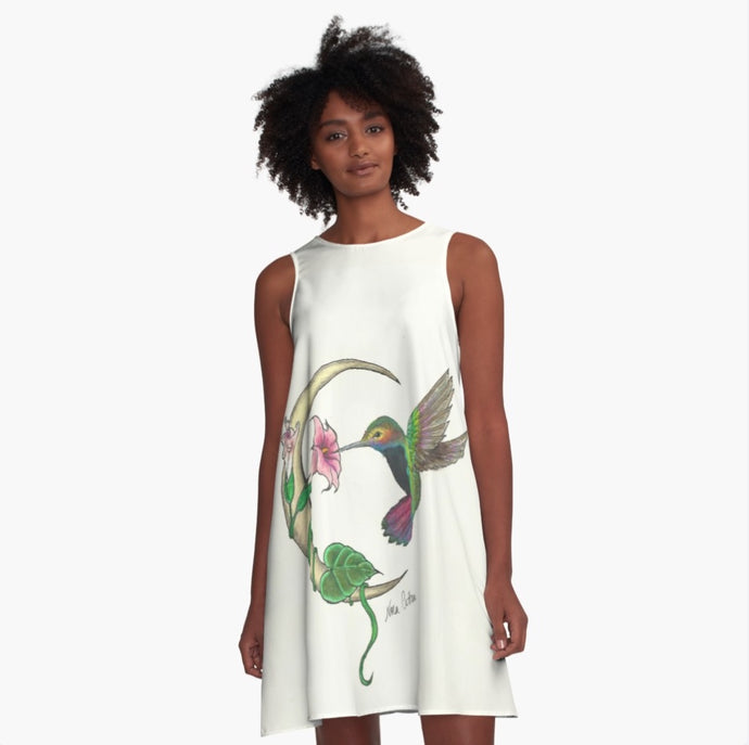 A-line Art Dress Hummingbird - Nora Catherine