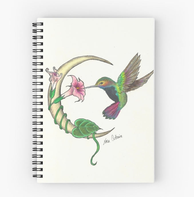 Hummingbird Crescent Moon Spiral Notebook - Nora Catherine