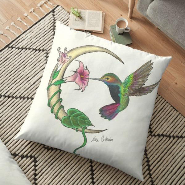 Hummingbird Crescent Moon Floor Pillow - Nora Catherine