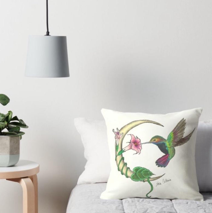 Hummingbird Moon throw pillow