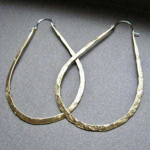 Lightweight Drop Hoops in copper, bronze or sterling silver (LG) - Nora Catherine