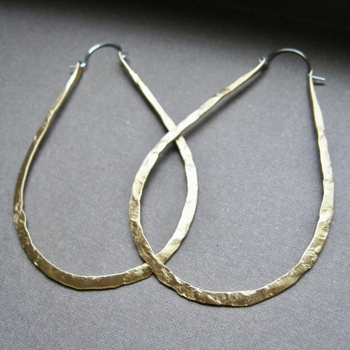 Lightweight Drop Hoops in copper, bronze or sterling silver (LG)