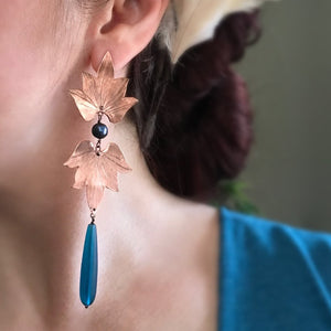 Double Lotus Blossom Earrings w/ sea glass drop and freshwater pearls - Nora Catherine