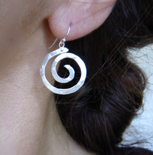 Ancient Spiral hanging earrings in copper, bronze or sterling silver (LG-SM) - Nora Catherine