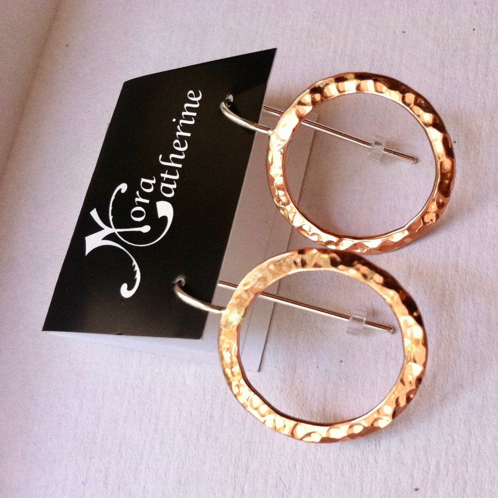 Sm hammered circle on soldered ear wire earrings in copper, bronze or sterling - Nora Catherine
