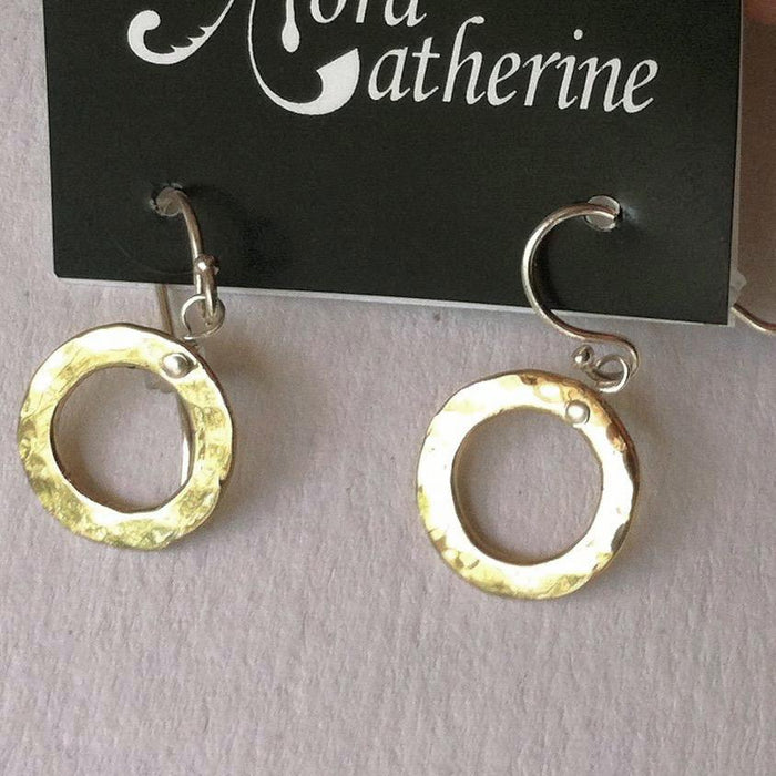 Hammered Circle hanging earrings in copper, bronze or sterling (XS)