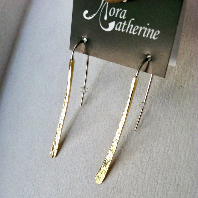 Md hammered curved stick earrings in copper, bronze or sterling - Nora Catherine