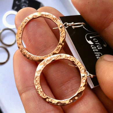 Sm hanging hammered circle earrings in copper, bronze or sterling - Nora Catherine