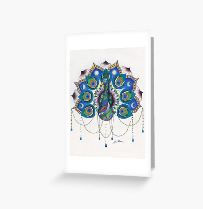 Peacock Mandala greeting cards and postcard