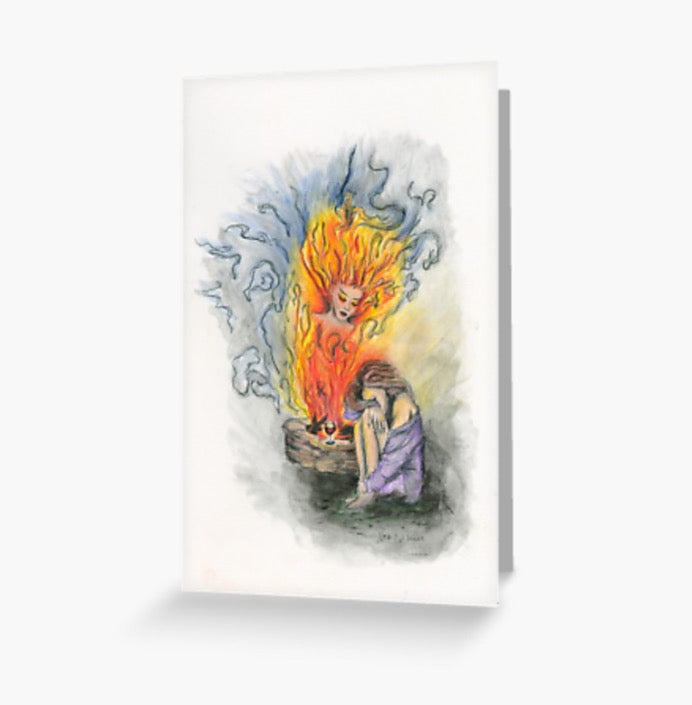 She Is Fire greeting cards and postcard