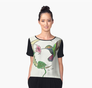 Hummingbird Chiffon Art Top - Nora Catherine