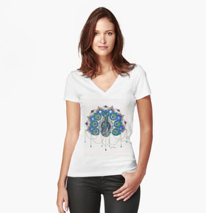 Peacock Mandala women's fitted T-shirt - Nora Catherine