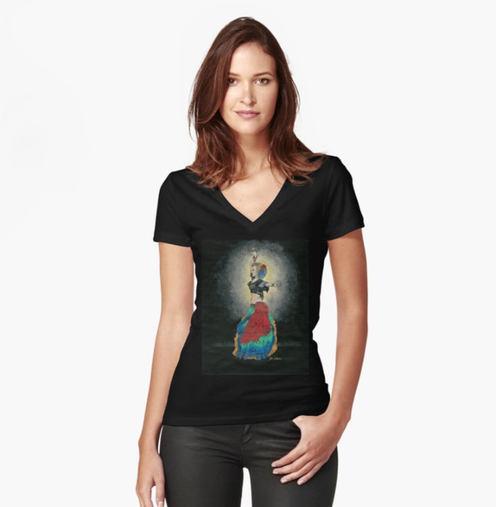 Tribal Dancer women's fitted T-shirt