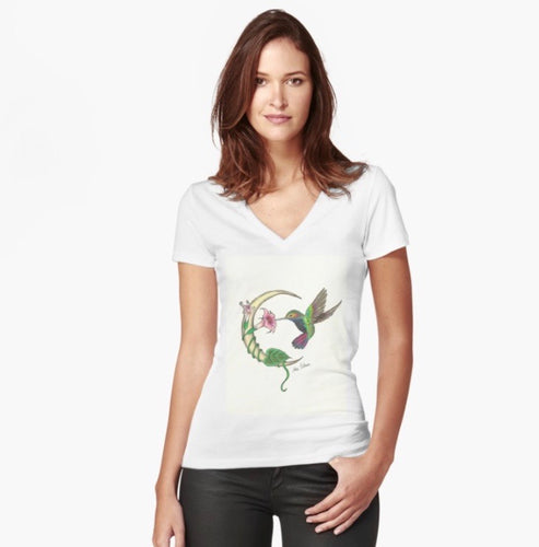 Hummingbird Moon Woman's Fitted T-Shirt - Nora Catherine