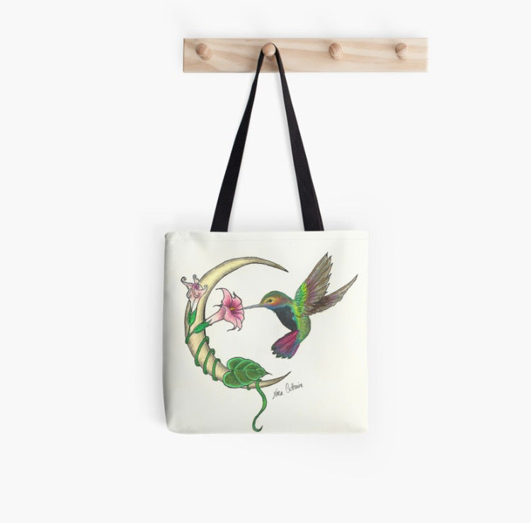 Crescent Moon Hummingbird tote bag - Nora Catherine