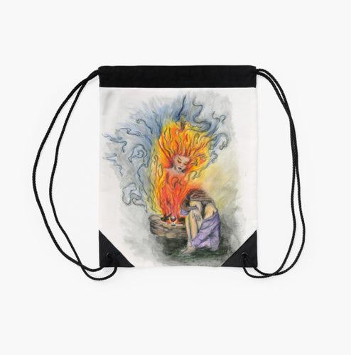 She is Fire drawstring back pack bag - Nora Catherine
