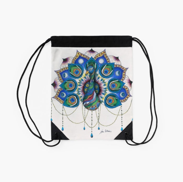 Peacock Mandala drawstring backpack/bag
