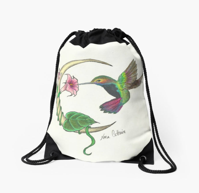 Hummingbird moon drawstring back pack bag - Nora Catherine