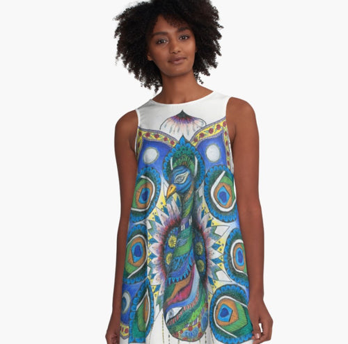 A-line Art Dress Peacock Mandala - Nora Catherine