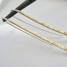 Lg hammered curved stick earrings in copper, bronze or sterling - Nora Catherine