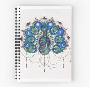 Peacock Mandala spiral notebook - Nora Catherine