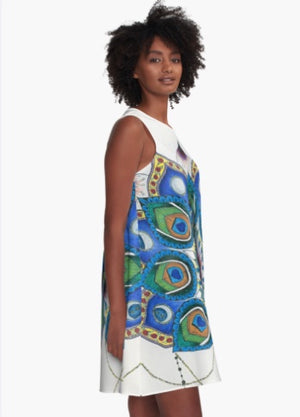 Peacock Mandala A-line art dress (single print) - Nora Catherine