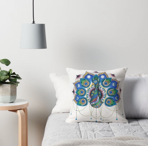 Peacock Mandala Throw Pillow - Nora Catherine