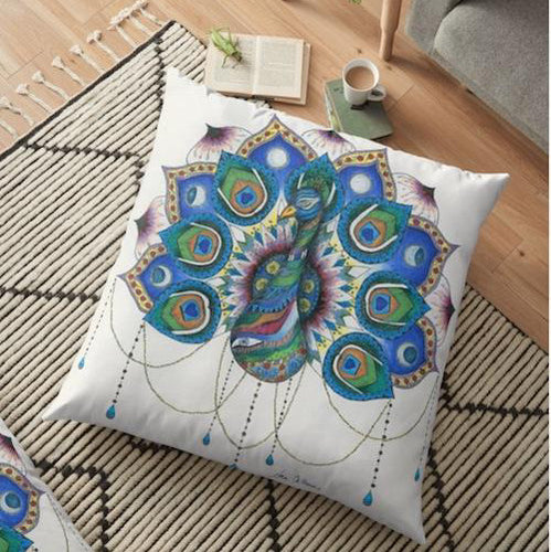 Peacock Mandala Floor Pillow - Nora Catherine
