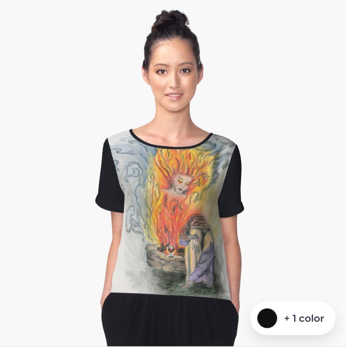 She Is Fire chiffon art top