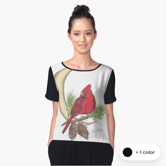 Cardinal Moon chiffon art top