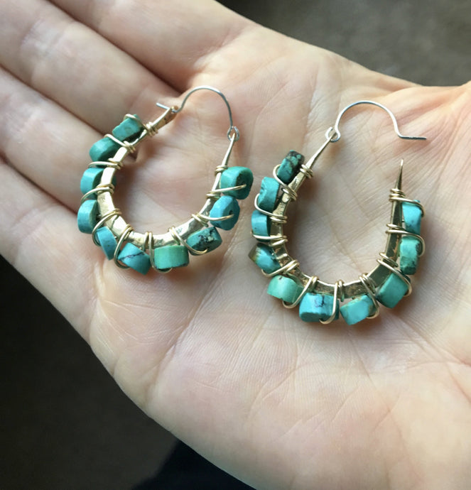 XS light weight natural turquoise drop hoops in bronze, gold fill  and sterling silver - Nora Catherine