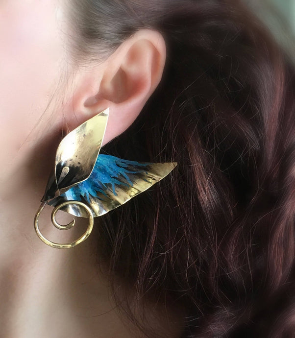 Winged goddess lily post earrings in bronze